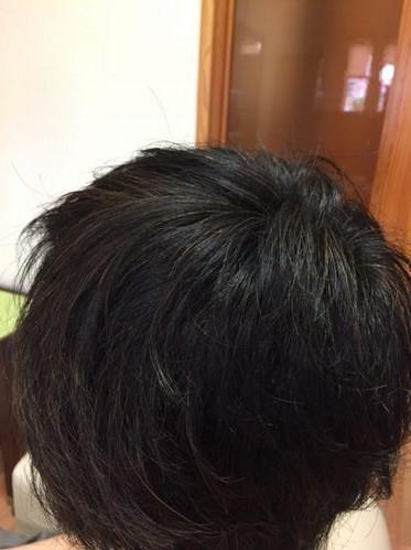 ハナヘナ染め後 湯シャン素髪