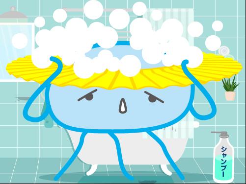 髪を洗うクラゲ