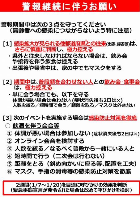 新潟県の警報継続に伴うお願い