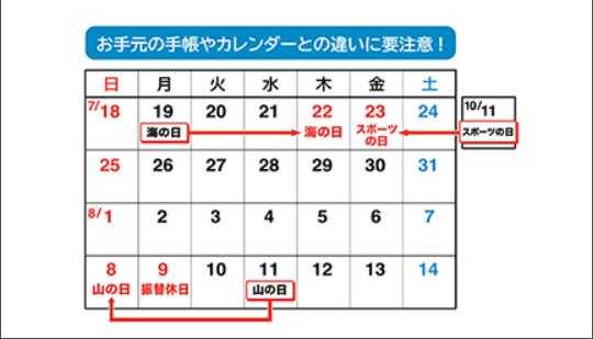2021年7月8月カレンダー祝日