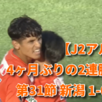 【J2アルビ】4ヶ月ぶりの2連勝っ! 第31節 新潟 1-0 甲府